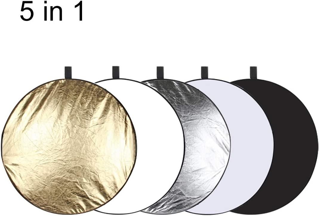 60cm 5 in 1 Silver//Translucent//Gold//White//Black Folding Photo Studio Reflector Board Durable
