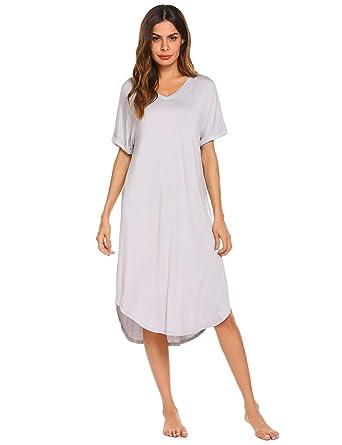 d221016603836 Ekouaer Women's Maternity Casual Sleepwear Short Sleeve Loose Nightgowns,  Light Grey, Small