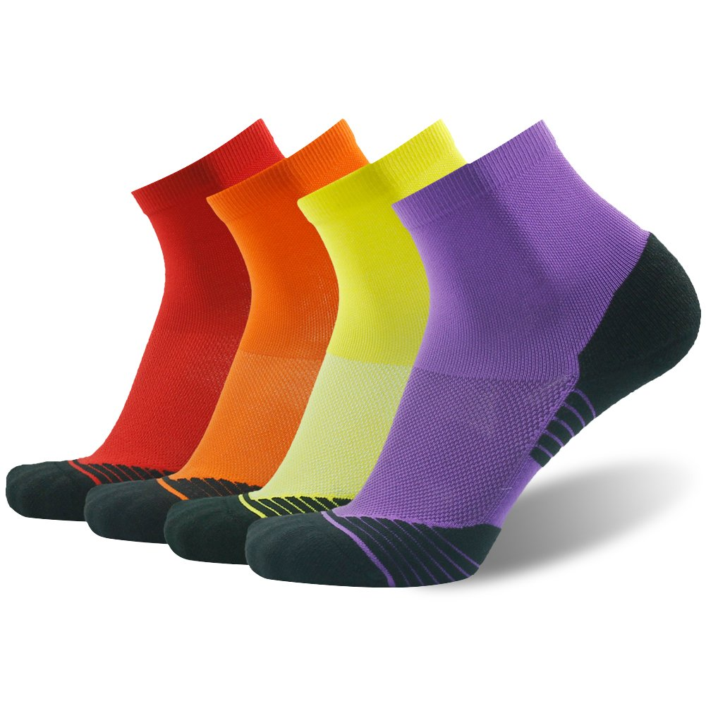 Men's Running Socks Gift HUSO Comfort Athletic Short Basketball Dri Fit Socks 4 Pairs (Multicolor, L/XL)