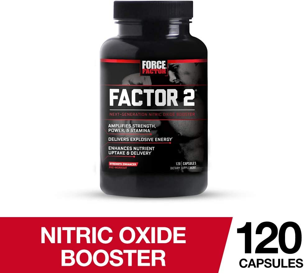 Factor 2 Nitric Oxide Booster, Pre-Workout L-Citrulline Supplement to Build Muscle, Power, Strength, Stamina, and Energy, Force Factor, 120 Count