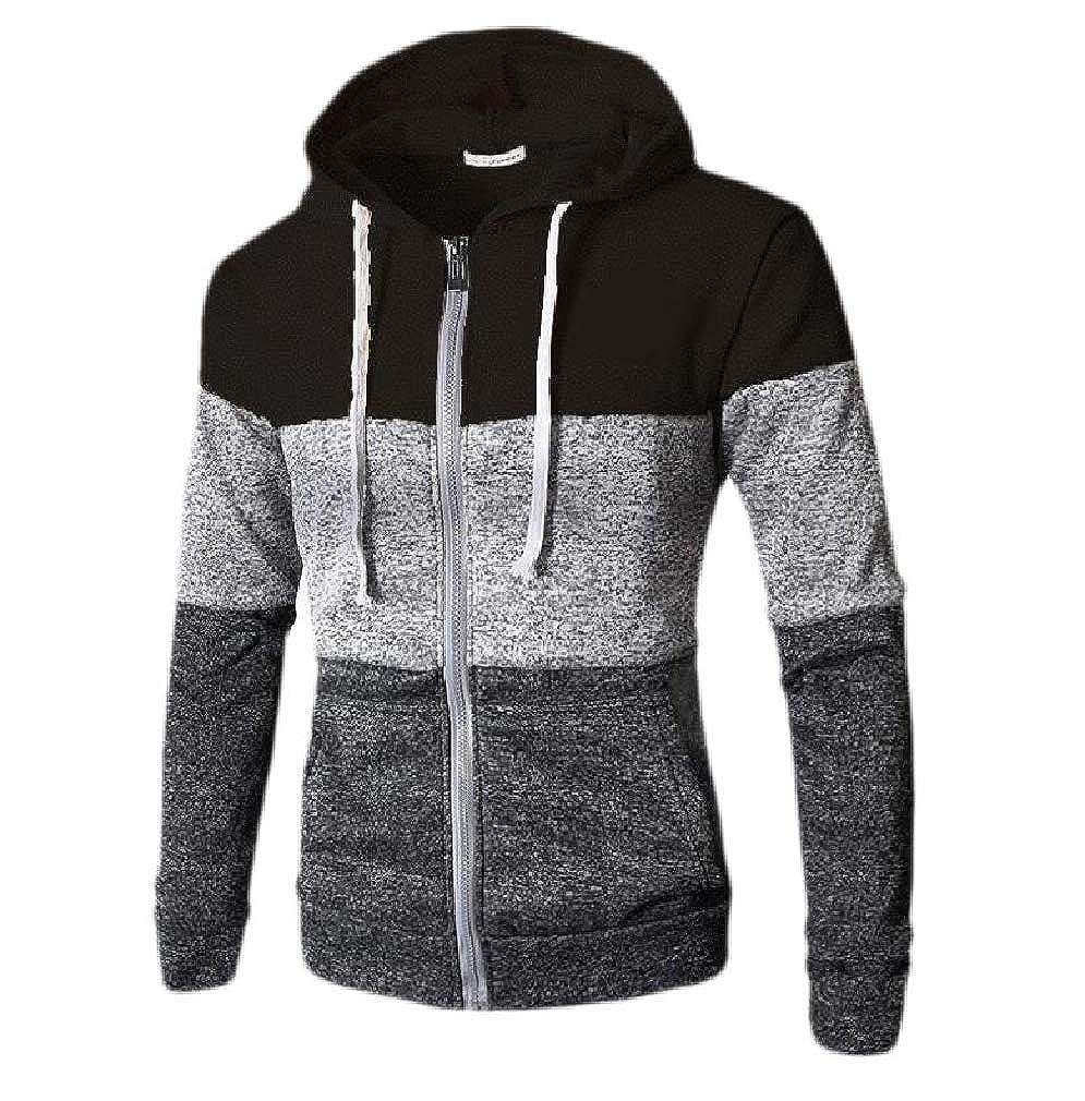Smallwin Mens Color Block Casual Jacket Sport Drawstring Hooded Sweatshirt