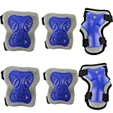 PAMASE Cycling Roller Skating Knee Wrist Elbow Protective Blading Pads- Knee Guards Set for Kid Blue M