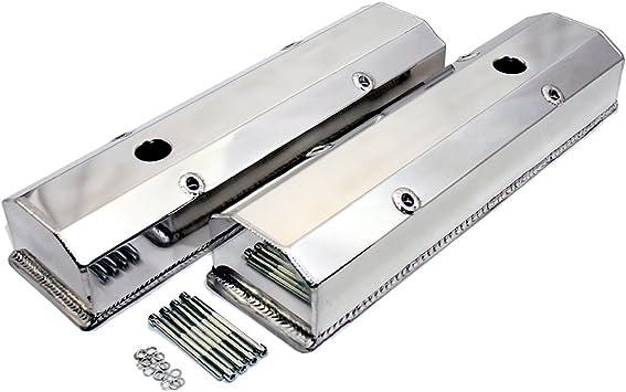 Polish Aluminum Small Block Chevy Valve Cover 305 327 350 400 Tall Fin w//o Hole