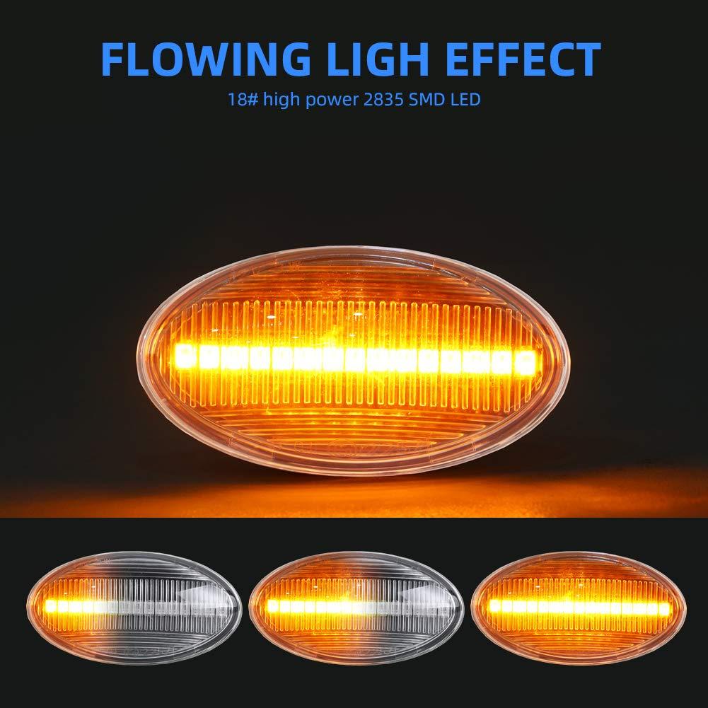 Gempro LED-Seitenmarkierungsblinker 1 Paar Blinker Bernsteinfarbe Dynamisches Blinken f/ür Mini Cooper R50 R52 R53 2001-2006 Transparentes Objektiv