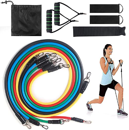 Widerstandsbänder Workout Übung Yoga 11-teiliges Set Crossfit Fitness Tubes Gym