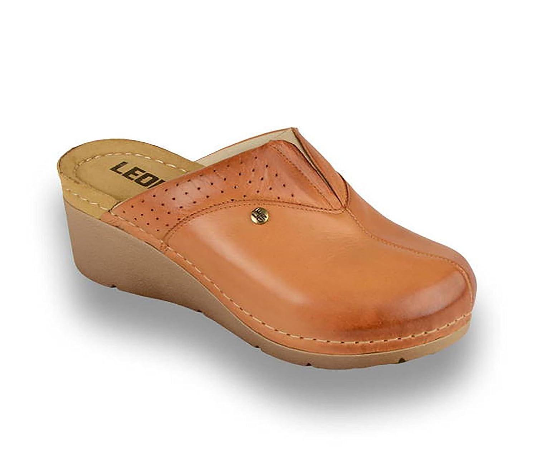 LEON 1002 Sabots Mules Chaussures Chaussons Chaussures 13362 en Cuir Dames Femme Dames Marron 09481f3 - shopssong.space