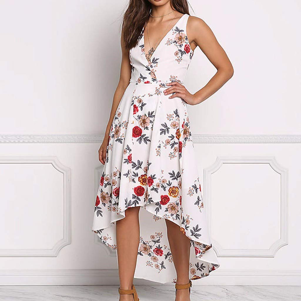 Womens Top Size 10 12 New Ladies Red Black Ivory prnt Sleeveless Asymmetric L//w