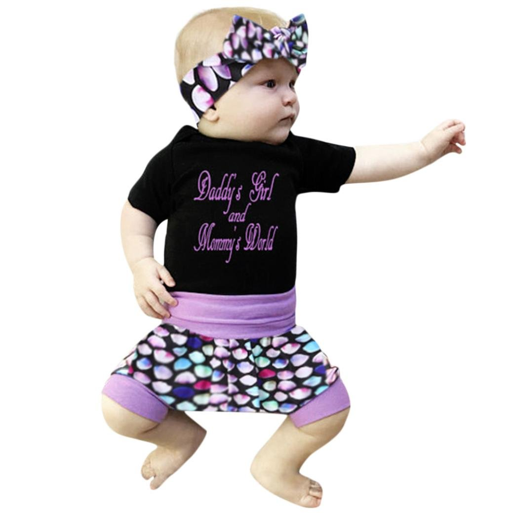 Shanx Newborn Baby Girls Daddy's Girl and Mommy's World Short Sleeve Bodysuit + Shorts Pants Outfits Suits Clothes Set Summer with Headband