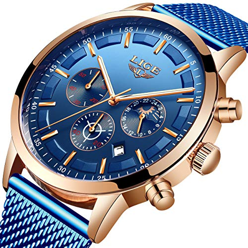 Mens Black Watch Fashion Casual Waterproof Luxury Brand LIGE Watch Stainless Steel Quartz Multi-Function Chronograph Watch Date Display Luminous Watch ...