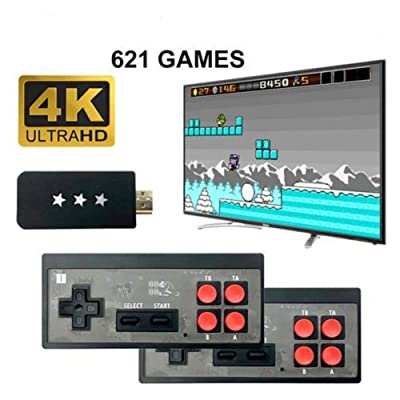 Retro Game Console 4K HD Mini Classic Video Game Console, with Wireless Controller, Built-in 621 Classic Games for Dual Players: Arts, Crafts & Sewing