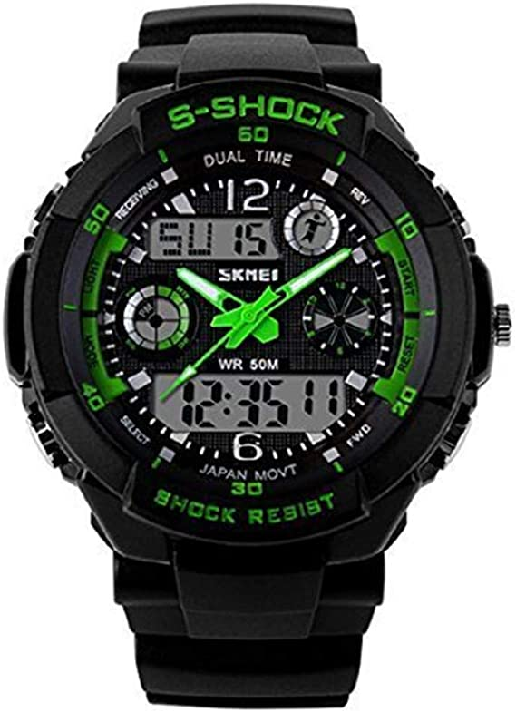 Skmei S Shock Analog and Digital Sports Watch Green Color: SKMEI:  Amazon.co.uk: Watches