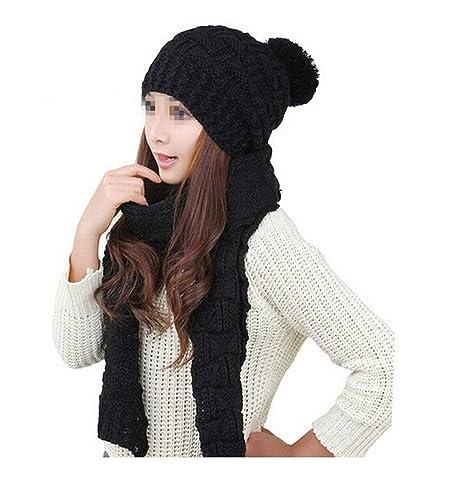 a7bd2aea411 Amazon.com  Natworld Latest Ladies Knit Hat + Scarf Set Girls Women Winter  Warm Scarf Thicken Crochet Bobble Pom Pom Beanie Hat Women Knitted Hat Set   ...