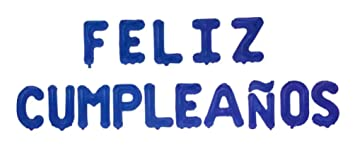 Feliz Cumpleaños 16 Inch Letter Foil Mylar Balloon Banner Kit by Zeylo Party Supply, Navy Blue