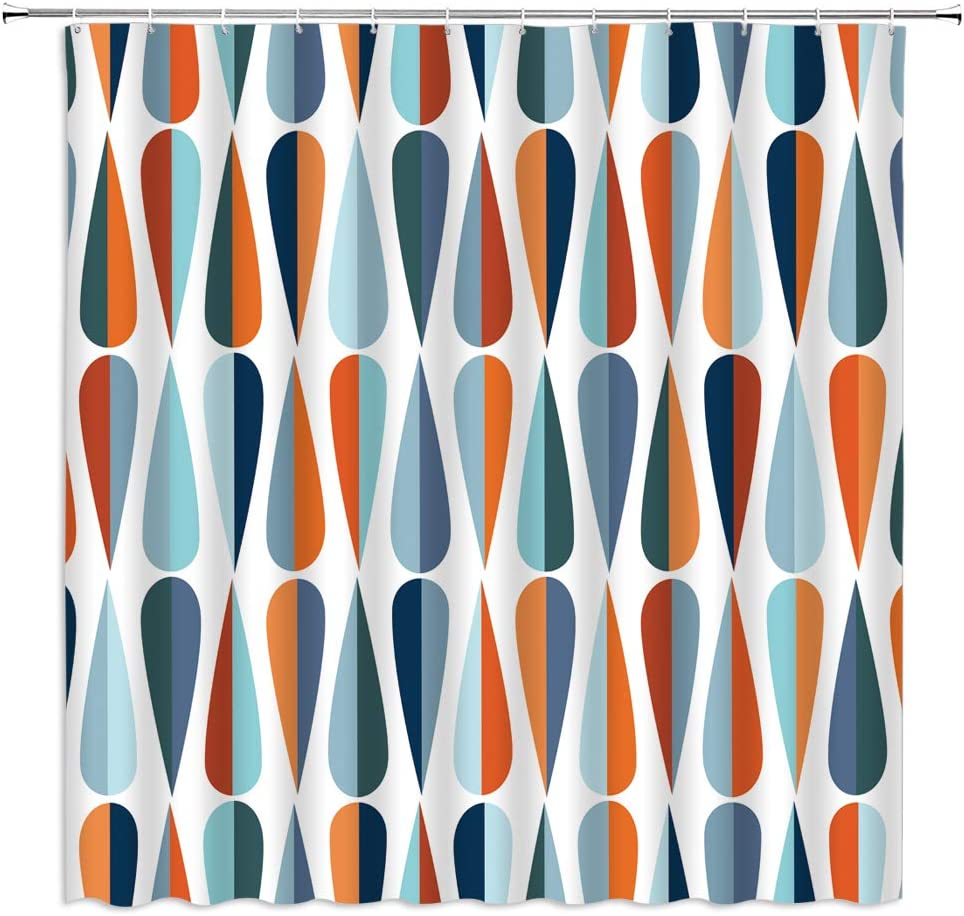 Mid Century Shower Curtain Mid Century Modern Geometry Vintage Retro with Drop Shapes in Tones Abstract Waterdrop Fabric Bathroom Decor Curtain with 12 Hooks,71x71 Inch,Blue Orange