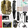 EVERLIT Emergency Survival Kit 40-In-1 Molle Pouch/Holster, Tactical Outdoor Gears, First Aid Supply, Survival Bracelet, Emergency Blanket, Tactical Pen, for Camping, Hiking, Hunting
