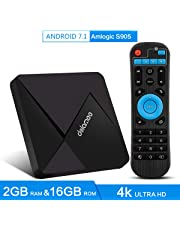 DOLAMEE D5 Android 7.1 TV Box, 2GB RAM 16B ROM 4K HD Smart Media Player with 2.4Ghz WIFI Bluetooth 4.0