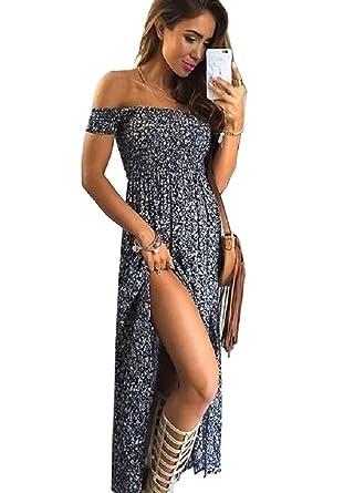 fe2404a95d VINDOOXI Women Summer Boho Off Shoulder Long Maxi Casual Dresses Slit Split  (S, navy