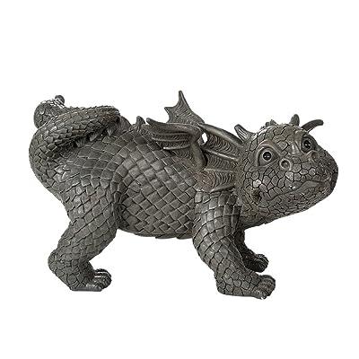 Pacific Giftware Garden Dragon Peeing Dragon Decorative Garden Accent Sculpture Stone Finish 10 Inch Tall: Home & Kitchen