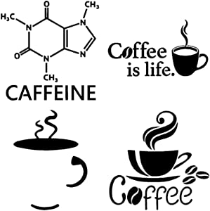 Caffeine Decals 4 Pack: Caffeine Molecule, Coffee is Life, Coffee Cup, Laptop Logo Cup (Caffeine Black)