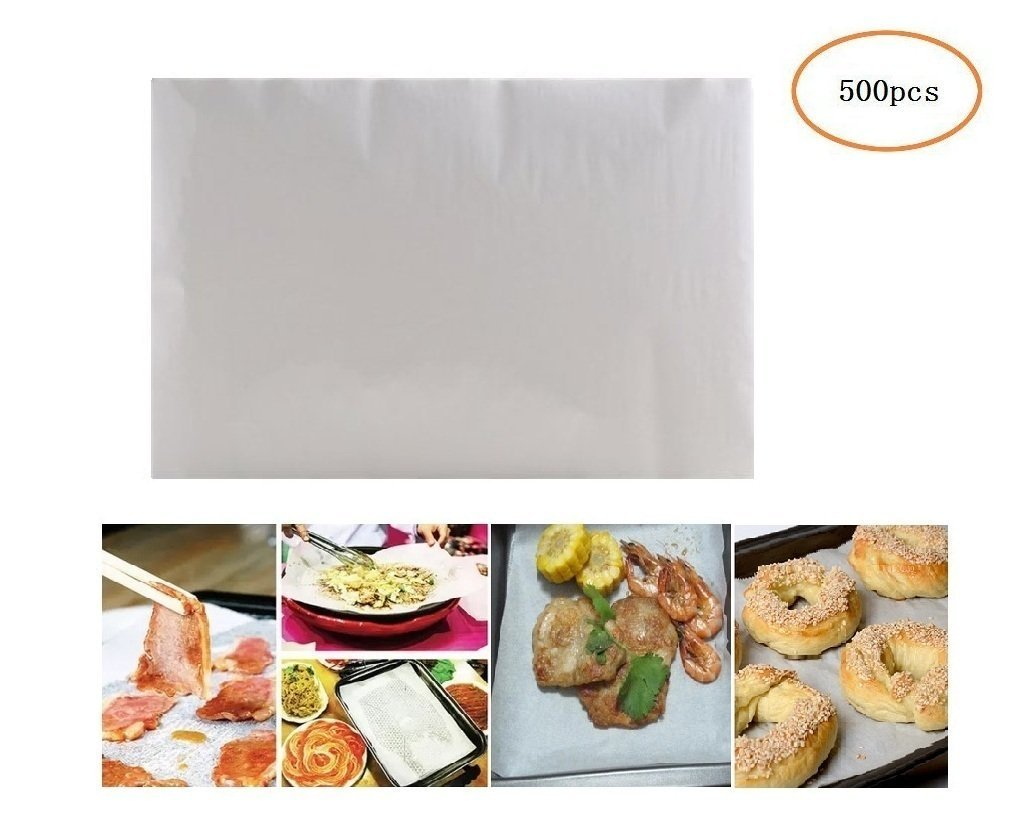 (500 Sheets) Non-Stick square Parchment Paper Baking Sheets Baking Paper Liners (8*12 inches) Mity Rain