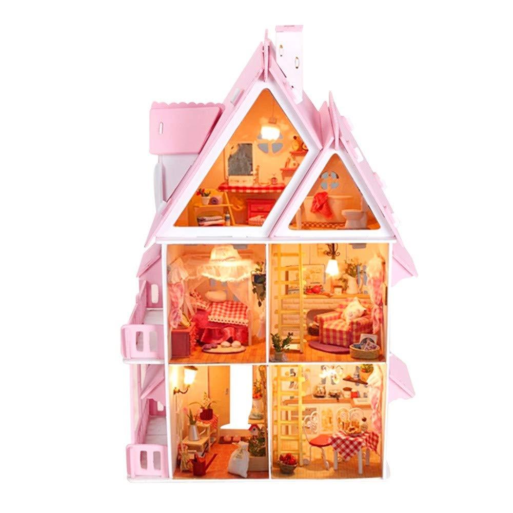 Luoluoluo Case delle Bambole Portatile - Casa delle Bambole in Legno Kaylee per Bambole -Regali di Natale Luoluoluo giocattoli
