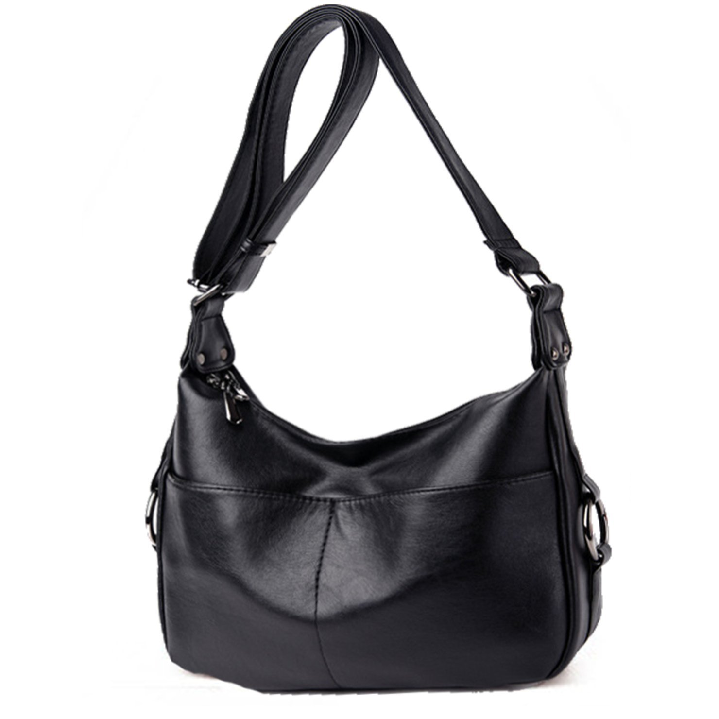 Lustear Ladies Soft Leather Shoulder Bags Hobo Style Bag (Black)