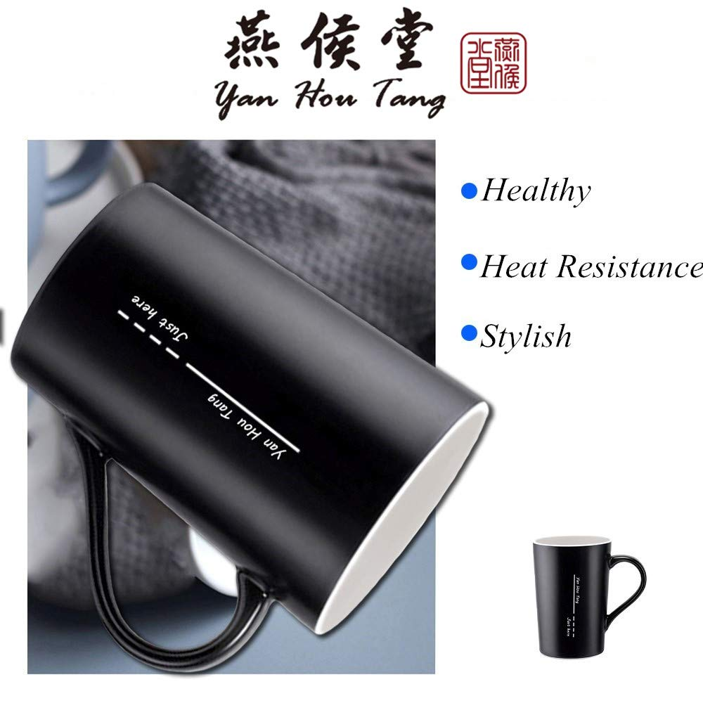 Yan Hou Tang Simple and Plain Solid Line Mug Cup Coffee Water Juice Beer Wine Tea Hot Cold - 400ml 14oz Serving Carving Crafts Style for Home Office Club Pup Party Drink Cheers Black