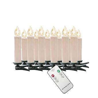 40er LED Weihnachtskerzen Baumkerzen Kerzen Lichterkette kabellos Party Außen