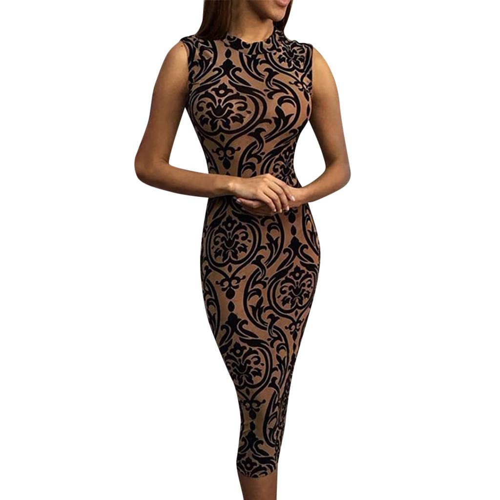wodceeke Dress for Women,Summer Casual Round Neck Vintage Print Bodycon Sleeveless Dresses(Brown,L)