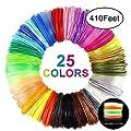 Qifen 3D Pen Filament Refills,3D Printer Filament,1.75mm PLA Filaments Pack of 25 Different Colors(6 Glow, 19 Common) 3D Printing Filament,Each Color 5 Meters(16.4ft), Total 125 Meters (410ft)