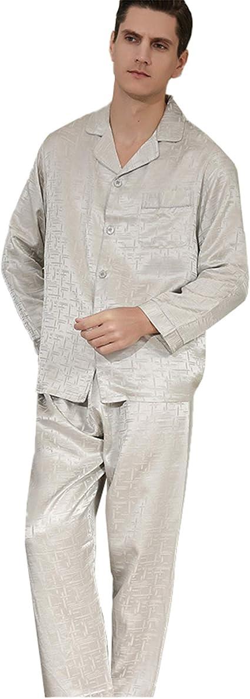 LZJDS - Conjunto de pijamas de seda pesada para hombre, manga ...