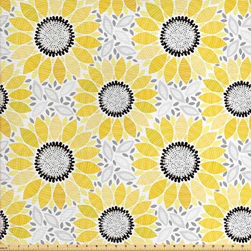 (Ambesonne Yellow Fabric by The Yard, Colorful Illustration of Sun Flower with Motifs and Patterns Summer Nature Artprint, Decorative Fabric for Upholstery and Home Accents, 5 Yards, Yellow Grey)