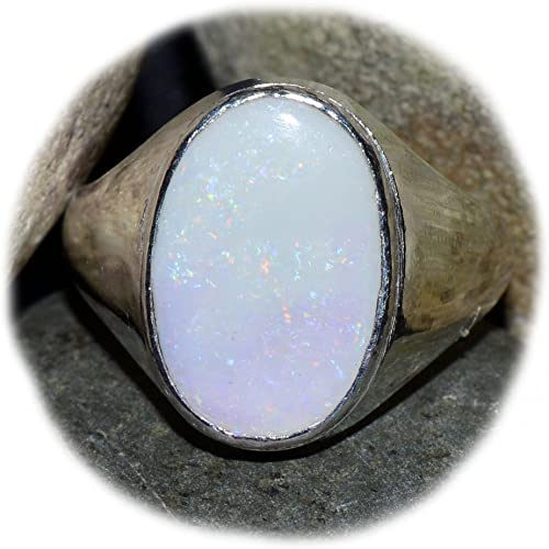 55Carat Natural Peral Silver Ring For Women 4 Carat Oval Shape Chakra Healing Size 5,6,7,8,9,10,11,12,13