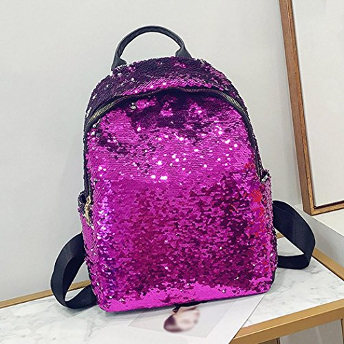 Student Travel Bag School Purple Gold for Zip Shoulder Girl Sequins Backpack Fashion Double Bag B0fxqwRf