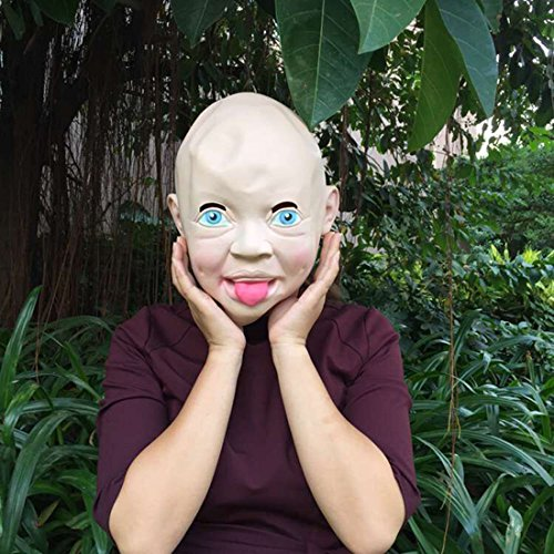 Big Head Mask Baby (Vivid smile crying baby baby crying face mask, full head masks hoods Halloween mask of terror haunted house)