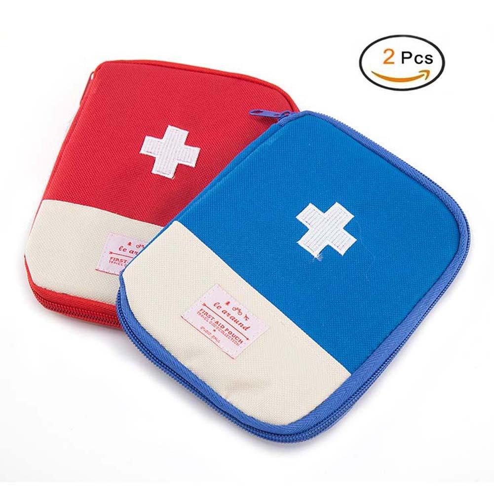 EQLEF® Mini Erste-Hilfe-Tasche Leer, Tragbare Medizin Aufbewahrungstasche Medikament Verpackung Tasche für Outdoor-Reisen Tragbare Medizin Aufbewahrungstasche Drogen-Verpackung Tasche für Outdoor-Reisen (Rot) EQLEF®