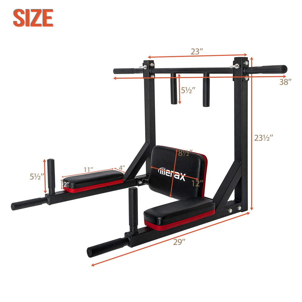 Merax Wall Mounted Pull-Up Bar - Multi-Grip Chin-Up Bar Dip Stand Power Tower Set for Home Gym Strength Training Equipment [Supports 440LBS] (Black & Red) by Merax (Image #7)