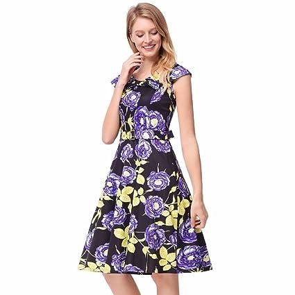 NSSBZZ Mujer Hermosa Nueva Impresión De Flores Con Cinturón Collar Marina Un Vestido Vestido Violeta L