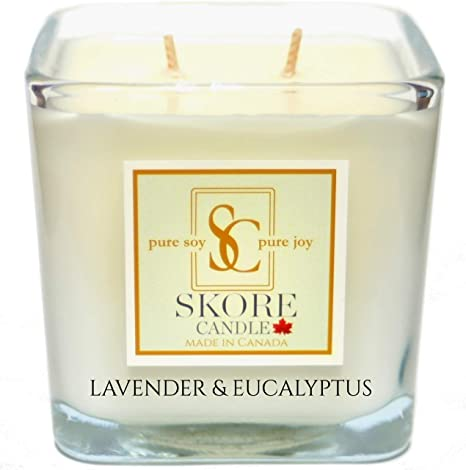 Large 14 oz 2 wick 100/% Pure Soy Wax Aromatherapy Natural White Candles LAVENDER /& EUCALYPTUS Fragrance Oil and Essential Oil Blends create Organic Aromas for Soy Candles Scented to Perfection Made in Canada by Skore Candle Pure Soy Scented Candles