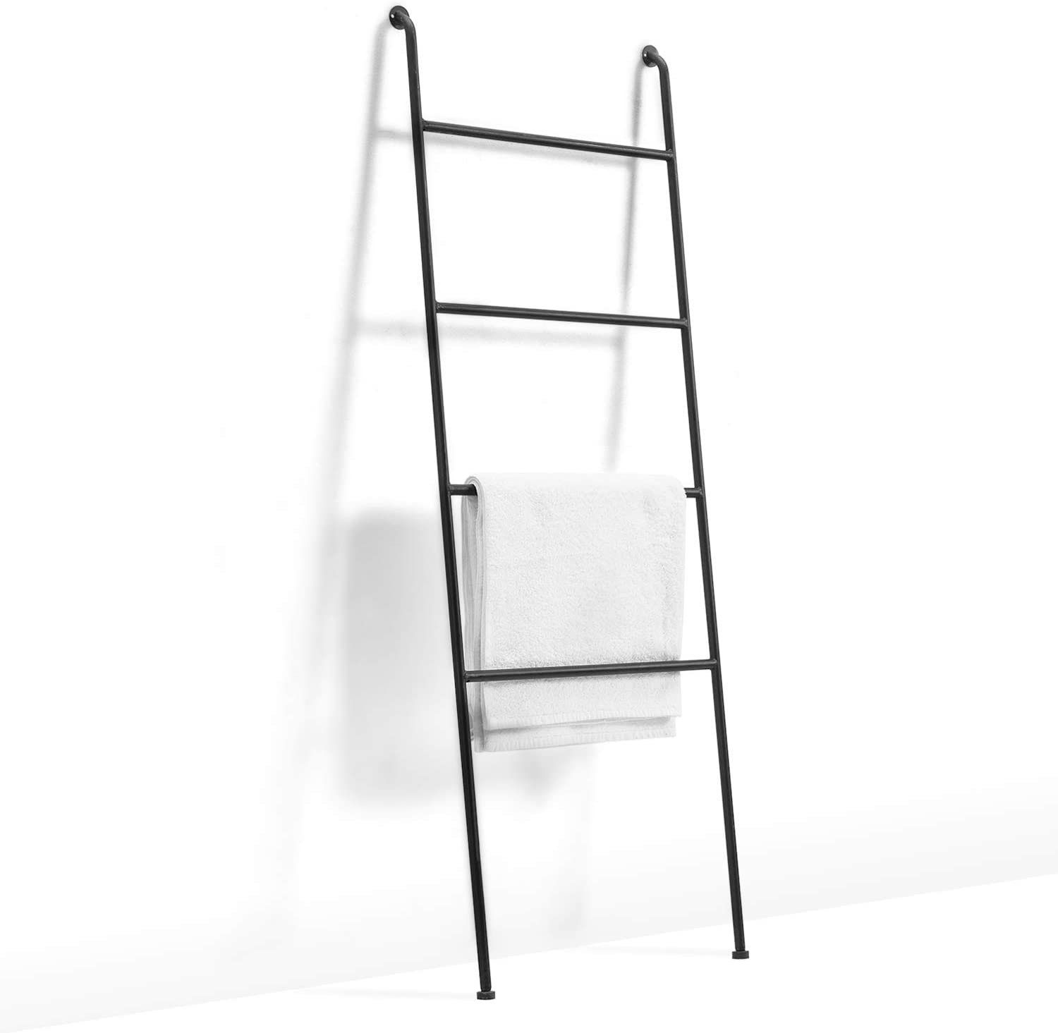 MyGift 4-Foot Wall-Leaning Matte Black Metal Towel Ladder Rack with 4 Storage Rungs