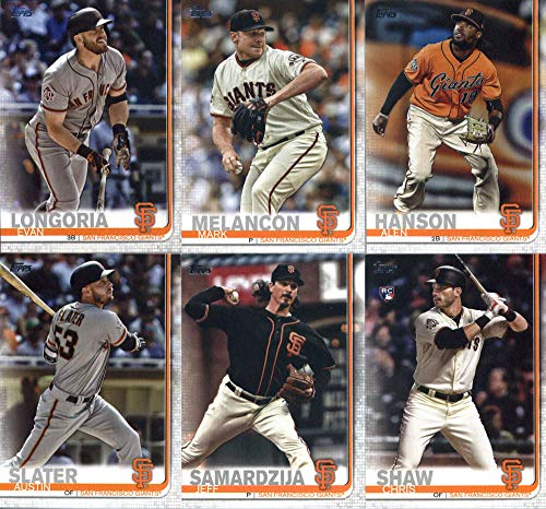 2019 Topps Complete (Series 1 & 2) Baseball San Francisco Giants Team Set of 20 Cards: Dereck Rodriguez(#4), Brandon Crawford(#53), Brandon Belt(#148), Hunter Strickland(#153), Johnny Cueto(#154), Buster Posey(#157), Steven Duggar(#190), Will Smith(#203), Joe Panik(#288), Ray Black(#333), Mark Melancon(#360), Evan Longoria(#390), Pablo Sandoval(#428), Alen Hanson(#478), Jeff Samardzija(#574), Austin Slater(#594), Chris Shaw(#611), Oracle Park(#616), plus more
