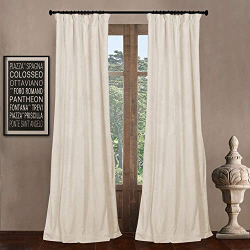 52″ W x 84″ L set of 2 Panels Pinch Pleat 90 Beige Lining Blackout Velvet Solid Curtain Thermal Insulated Patio Door Curtain Panel Drape For Traverse Rod and Track