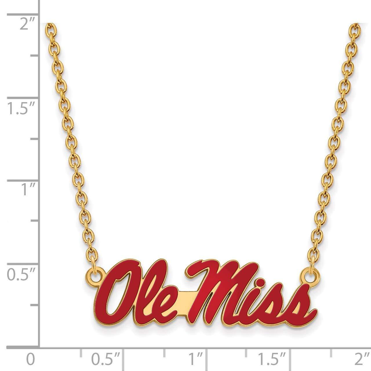 Lex /& Lu LogoArt Sterling Silver w//GP University of Mississippi Lg Enamel Pendant w//Necklace LAL142658
