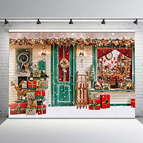 Mehofoto Winter Christmas Backdrop Xmas Snow Storefront Cottage Decorations Background 7x5ft Baby Kids Christmas Portrait Photoshoot Props