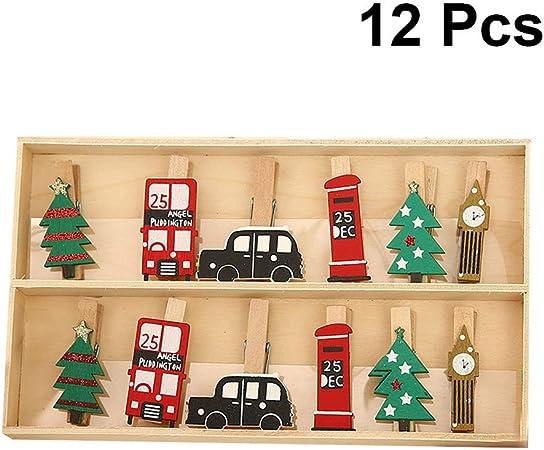 Lioobo - Pinzas de madera para ropa, 12 unidades, en una caja, estilo navideño, mini pinzas de madera para papel fotográfico 4.5 * 1CM Picture 1: Amazon.es: Hogar