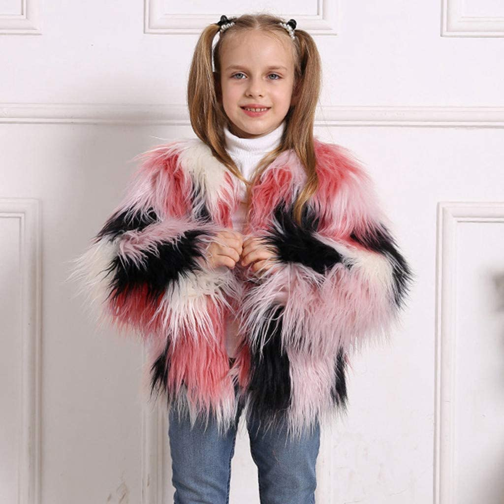 Newmao Toddler Baby Girls Overcoat Kids Fashion Winter Faux Fur Windproof Splice Coat Padded Warm Outwear