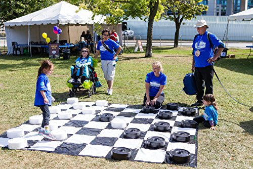 Garden Games GIANT Checkers | 10'x10' | Black + White Theme