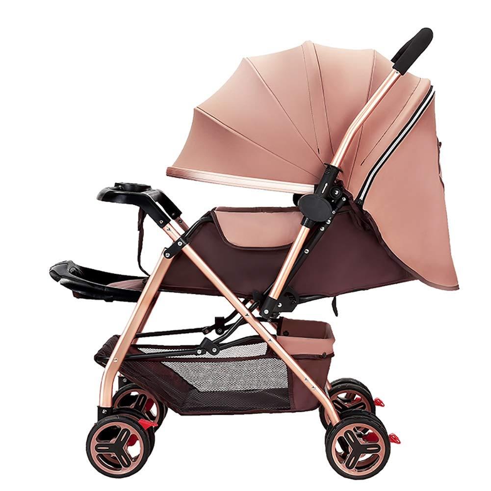 赤ちゃんのベビーカー軽量のポータブル高地は、座って、折り畳み式のシンプルなハンドルを可逆的なサスペンション新生児のバギーのトロリー (色 : カーキ)  カーキ B07QGRW3MF