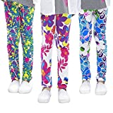 slaixiu 3-Pack Printing Flower Girl Leggings Kids Classic Pants 4-13Y(ADY_6-7,70#)