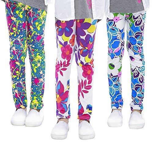 slaixiu 3-Pack Printing Flower Girl Leggings Kids Classic Pants 4-13Y(ADY_12-13,85#)